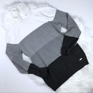 Calvin Klein Grey Colorblock Turtleneck Sweater